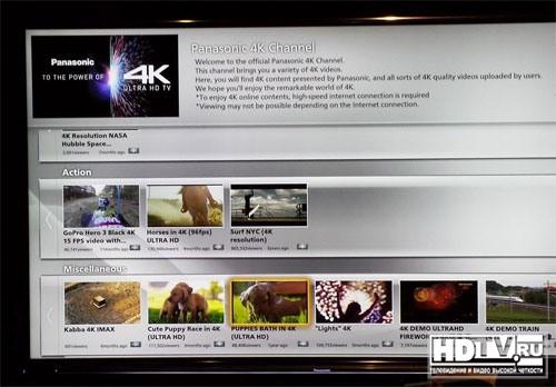 Panasonic запускает для владельцев TX-L65WT600 видеоканал в разрешении 4K